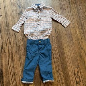 Cat and Jack shirt bow tie and pants set